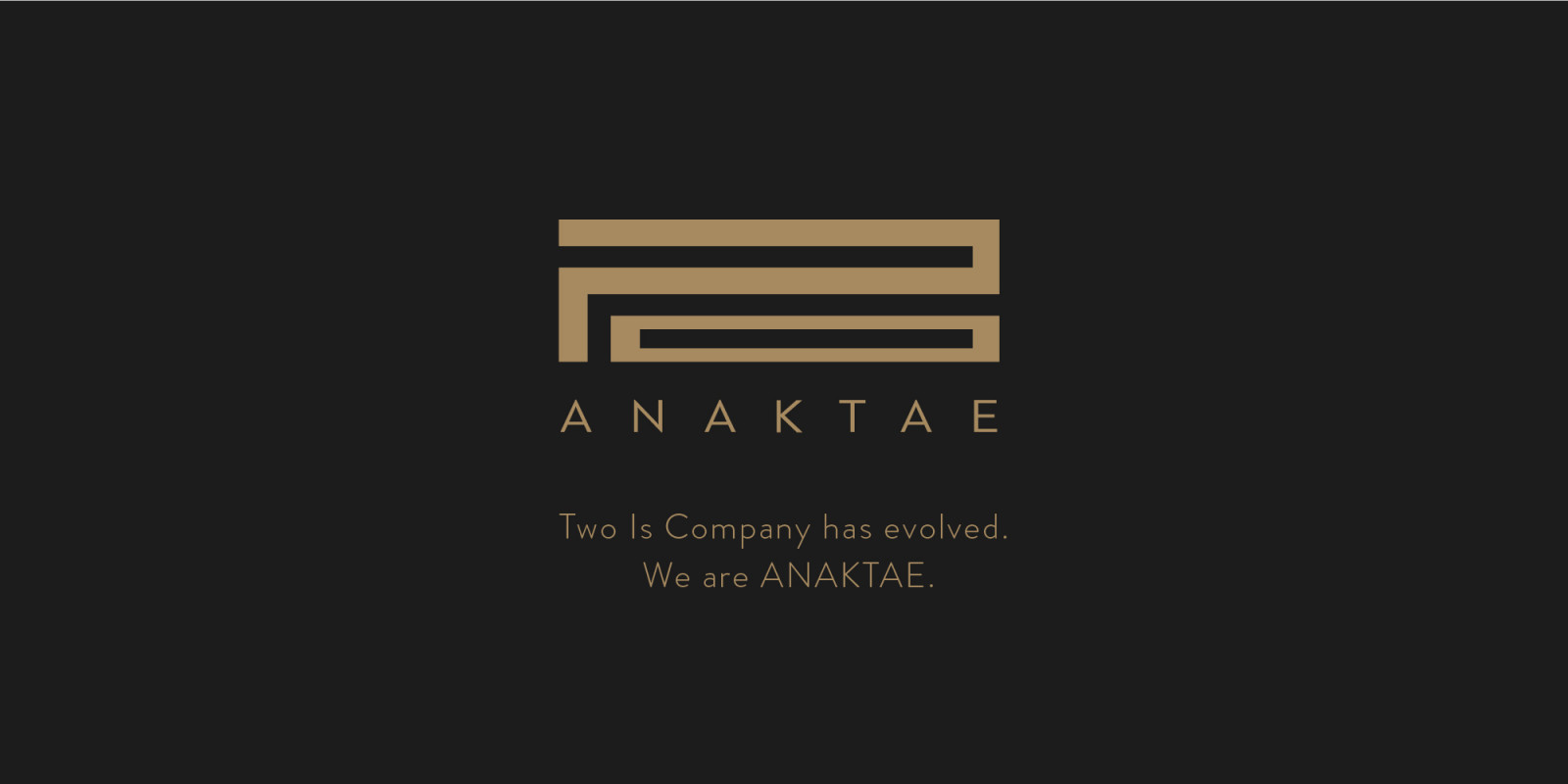 Two is Company has evolved. We are ANAKTAE.